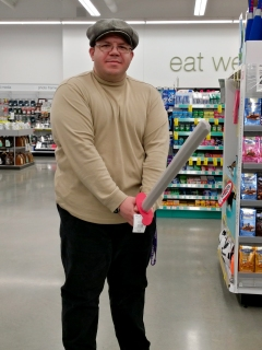 """On April 21, I was hanging out with Elyse again, and we, among other things, went to Walgreens in Ellicott City. I'm pretty sure that this pose was supposed to be in imitation of Lone Star or Helmet from Spaceballs. The line was, """"You have the ring, and I see your Schwartz is as big as mine!"""""""