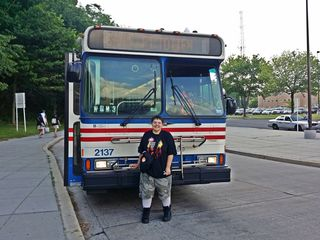 In 2015, Elyse developed an interest in bus 2137 after we spotted it on the street doing the 70 just before the Washington Auto Show. Here, on May 29, at Fort Totten, Elyse meets the subject of her fascination.