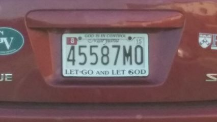 """Spotted on July 22 near Arundel Mills. This license plate frame says """"GOD IS IN CONTROL"""" and """"LET GO AND LET GOD"""". I have said before that people with religious stuff on their car are some of the worst drivers, and this one was no exception. When it comes to the """"Jesus, take the wheel"""" mindset, I have to remind people that cars had not been invented in Jesus' day, and therefore Jesus never learned how to drive a car. Thus he cannot help you drive to your destination. You must do so yourself without divine intervention, real or imagined."""