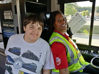 Later that day, I got to experience what it's like to ride RTA, which is the transit agency that serves Howard County and Anne Arundel County, and also links up with WMATA's and MTA Maryland's bus networks. Elyse rides RTA a lot to get around the area where she lives. This photo was at the end of my RTA ride, showing Elyse and Carmela, one of the drivers that Elyse regularly gets.