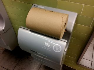 Mom and I later went to Whole Foods in Rockville, where, in the men's restroom, I found the perfect use for one of those Dyson Airblade hand dryers: a paper towel holder. Beats the manufacturer's intended use, hands down.