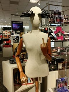 """Another day, another mannequin finger, this time at the Nordstrom in Columbia Mall. With the eyebrows like that, I would caption this, """"F--- you, I am fabulous!"""""""
