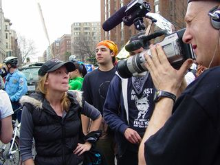 Various people with video cameras conducted interviews with individuals within the march.