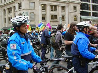 During our march, we had a heavy police escort. Police generally had no choice but to stop traffic ahead of our march whenever they could.