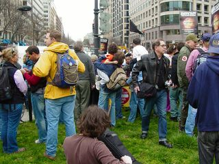 The march paused for a few minutes after the group was shoved into McPherson Square en masse.