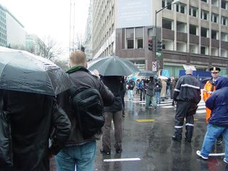 Big Mavica's final photo, in a downpour, in the streets of Washington DC.