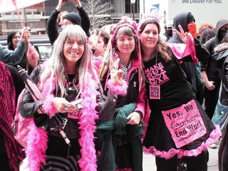 Code Pink demonstrators who joined our march partway through.