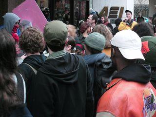 Demonstrating outside the Washington offices of Halliburton.
