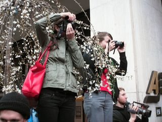 Meanwhile, two photographers found a vantage point to witness the scene.