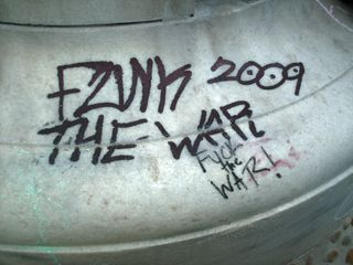 """Two of the messages on the fountain were left in ink, which is far harder to remove than chalk, which simply washes off. I disagree with inking the marble statue, because when it's an identifiable group like DC SDS, and their highly visible """"Funk the War"""" demonstration, it reflects badly on the movement, and thus harms the movement more than it helps it. Chalking is one thing, and I highly encourage it. However, inking is where I believe the line should be drawn."""