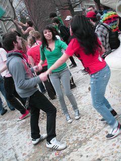 Dancing in the fountain.