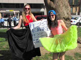 These two women dressed festively for Funk the War.