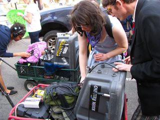 Rachel and Adam, among others, ran the sound system, ensuring that our mobile dance party had proper dancing music.