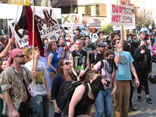 Demonstrating outside the recruitment center.