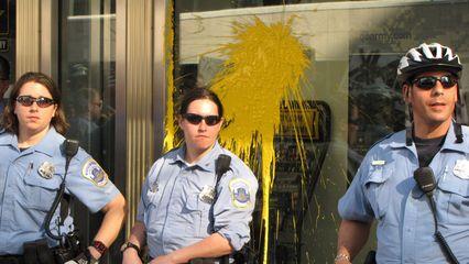 Paint on the recruitment center's window.