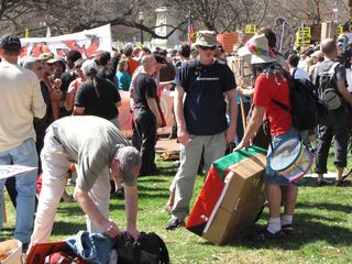 The ANSWER demonstration, gathered at Lafayette Park.