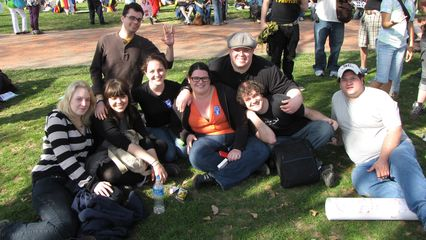 Group photo of the call-it-a-day group at Lafayette Park.