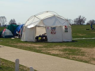 Camp Out Now, where we hung out until the equipment arrived, and the March for America began.