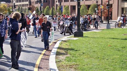 Our protest march looped once around Thomas Circle before entering the park at the circle's center.