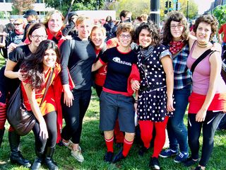 Members of the radical cheerleading group RCDC pose for a photo in Thomas Circle.