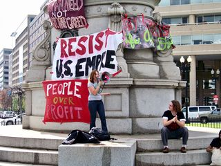 At Thomas Circle, a small rally occurred prior to the final march to Luther Place.