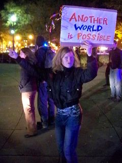 One of a handful of mainstream demonstrators in Dupont Circle for this late-night march.