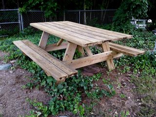 A freshly power washed picnic table, 2014