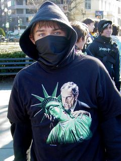 This gentleman's shirt shows Bush as a vampire, preparing to drink the blood of the Statue of Liberty.