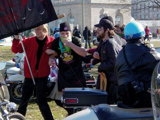 The black bloc rushes the Capitol Police's line of motorcycles.