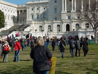 We marched up the lawn and right up to the west front of the Capitol.