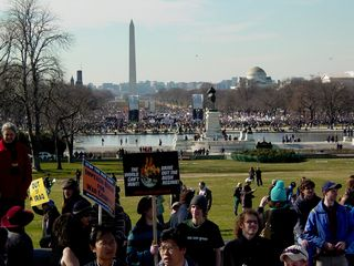 As you can see, we were quite a ways away from the mainstream march, which ended way back at 3rd Street. Note the location of the two speaker towers near the center of the photo.