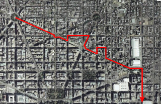 Map showing the Radical Youth Bloc's path to the Mall