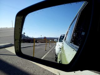 On November 22, 2012, I was headed down to Stuarts Draft to see my parents for Thanksgiving. Here's a view out the left side mirror as I was waiting to turn onto Route 608 from Ladd Road.