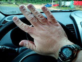 I photographed my hands while sitting in the Soul on June 2, 2013, after Melissa and I had finished our tubing adventure down in Luray. This is what several hours in the water will do to a pair of hands.