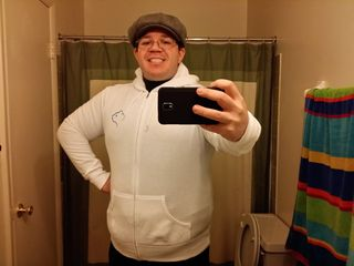 """On January 8, 2014, I got my other Kia hoodie. This is a white one, with """"Hamstar"""" on the back. I've never worn it out of the house, but my friend Melissa has."""