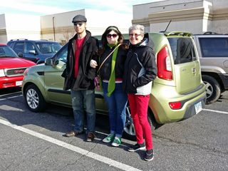 On January 13, 2014, my brother-in-law Chris, my sister, and my mother pose for a photo in front of the Soul outside Staunton Mall.