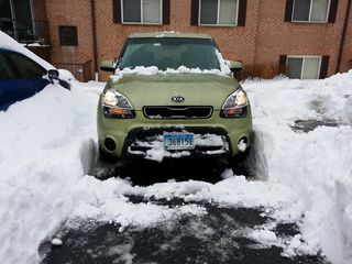 On February 12, the biggest snowfall of the year began, which ended up dropping around a foot of snow. I couldn't get a spot next to my building before the storm, so I parked across the lot. After the snow ended, I went to work digging myself out.