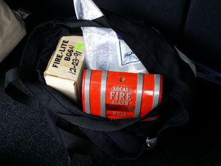 Transporting fire alarms to Ellicott City in the back of the Soul on May 26, for my second time meeting up with Elyse.