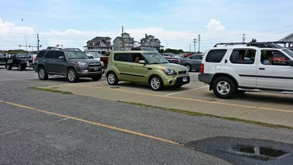 Waiting in line to board the ferry at Hatteras.