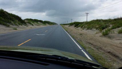 Driving down Ocracoke Island towards the village of Ocracoke.