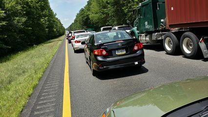Stuck in traffic on Interstate 64 in Virginia, near West Point.