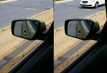 The left side mirror while waiting for a light on Rockville Pike