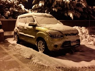 On March 5, it snowed while I was out driving the bus. When I came back, my car was covered in snow.