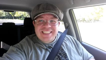 Selfie from the car on August 25, when the doctor said that I could drive again.