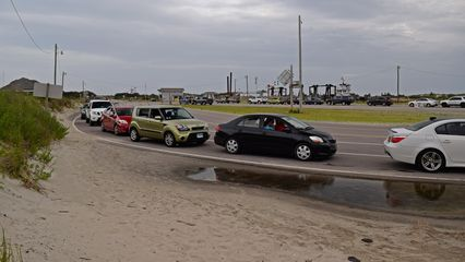 Waiting in line for the ferry to depart Ocracoke Island at the end of the day.