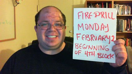 """Taken shortly after I finished the """"Fire Drills"""" Video Journal. I look horrible in this photo."""
