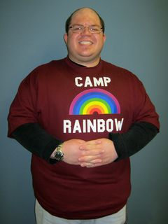 """Arrival of my """"Camp Rainbow"""" shirt. This shirt is a 4X, and it was actually bordering on being a little snug in this photo."""