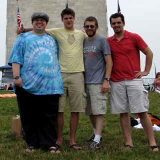 Posing with the guys from Is It A Good Idea To Microwave This? in front of the Washington Monument. My face was definitely smaller than it used to be, though the rest of me was still fairly large.