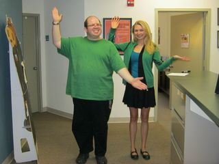 With Sarah, one of our interns at the office, in matching green outfits. I am wearing newer jeans that fit better than the last ones, and I am definitely improved from earlier in the year. My face is smaller, and my legs are smaller.