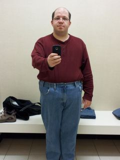 Trying on a pair of size 48 jeans at JCPenney store in Staunton, Virginia. They fit everywhere except in the crotch. Back to the drawing board, it seems...